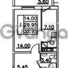 Продается квартира 1-ком 32.75 м² Привокзальная улица 1, метро Купчино