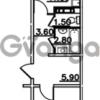 Продается квартира 1-ком 42.6 м² Привокзальная улица 1, метро Купчино