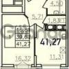 Продается квартира 1-ком 41.27 м² Дунайский проспект 13к 2, метро Звездная