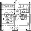 Продается квартира 1-ком 35.75 м² Парашютная улица 54, метро Комендантский проспект