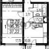 Продается квартира 1-ком 37.22 м² Парашютная улица 54, метро Комендантский проспект