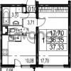 Продается квартира 1-ком 37.33 м² Парашютная улица 54, метро Комендантский проспект