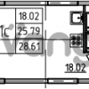 Продается квартира 1-ком 28.61 м² Петровский бульвар 3, метро Девяткино