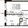 Продается квартира 1-ком 31.42 м² Немецкая улица 1, метро Улица Дыбенко