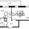 Продается квартира 1-ком 34.18 м² Немецкая улица 1, метро Улица Дыбенко