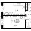 Продается квартира 1-ком 47.83 м² улица Малая Зеленина 1, метро Чкаловская