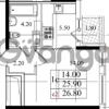 Продается квартира 1-ком 25.9 м² Бестужевская улица 5к 1, метро Лесная