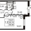 Продается квартира 1-ком 35.74 м² улица Пионерстроя 27, метро Проспект Ветеранов