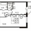 Продается квартира 1-ком 38.75 м² улица Пионерстроя 27, метро Проспект Ветеранов