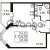 Продается квартира 1-ком 32.78 м² улица Пионерстроя 27, метро Проспект Ветеранов