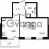 Продается квартира 1-ком 32.6 м² Немецкая улица 1, метро Улица Дыбенко